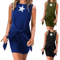 Fashion Star Printed Sleeveless Round Neck Lace-up Dress