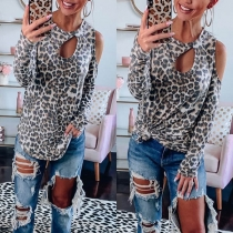 Sexy Off-shoulder Long Sleeve Round Neck Leopard Printed T-shirt