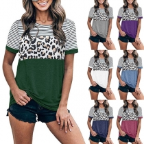 Fashion Leopard Striped Spliced Short Sleeve Round Neck T-shirt