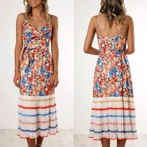 Sexy Backless V-neck High Waist Printed Sling Dress