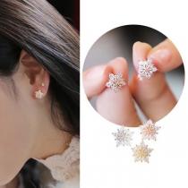 Fashion Rhinestone Inlaid Pentagram Shaped Stud Earrings