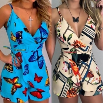 Sexy Backless V-neck High Waist Printed Sling Romper