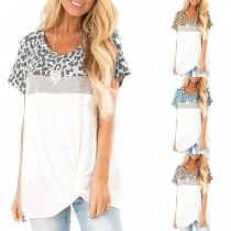 Fashion Leopard Spliced Short Sleeve Twisted Hem T-shirt