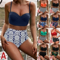 Sexy Ensemble de Bikini Taille Haute Imprimé