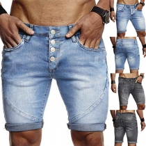 Fashion Middle-waist Knee-length Man's Denim Shorts