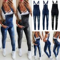 Pantalon à Bretelles en Denim Overall à la Taille Haute