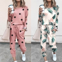 Fashion Printed Long Sleeve T-shirt + Pants Two-piece Set