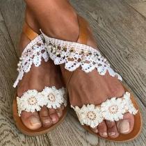 Fashion Flat Heel Open Toe Lace Spliced Sandals