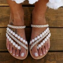 Sandales à Talons Plats Épissées en Dentelle