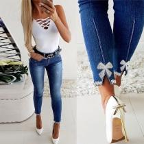 Jeans Slim à Taille haute Noeud Papillon Perlé Épissé