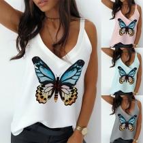 Sexy Haute a Bretelles et Imprimé Papillon