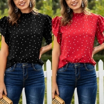 Sweet Style Lotus Sleeve Stand Collar Dots Printed Blouse