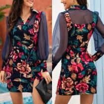 Sexy Gauze Spliced Long Sleeve Slit Hem Slim Fit Printed Dress
