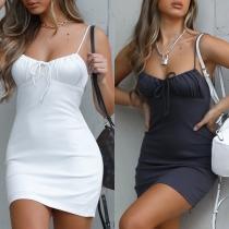 Sexy Mini-robe à Dos Nu en Couleur Unie