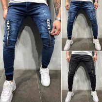 Fashion Middle-waist Front-zipper Man's Jea