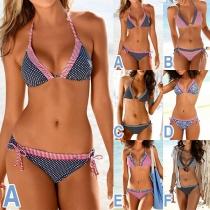 Sexy Ensemble de Bikini Halter Imprimé Taille Basse