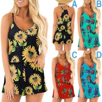 Sexy Backless V-neck Printed Sling Romper