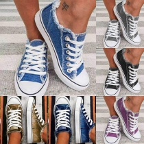 Casual Style Flat Heel Round Toe Lace-up Canvas Shoes