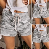Fashion Drawstring Waist Camouflage Printed Shorts