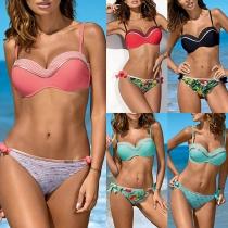 Sexy Ensemble de Bikini Imprimé Taille Basse Dos Nu