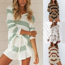 Fashion Long Sleeve V-neck Knit Striped Top + Shorts Two-piece Set