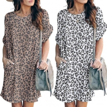 Fashion Leopard Printed Short Sleeve Round Neck Loose Dress
