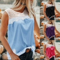 Fashion Lace Spliced Sleeveless Round Neck Top