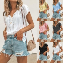 Fashion Solid Color Short Sleeve V-neck Lace Spliced T-shirt