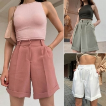 Fashion Solid Color High Waist Shorts