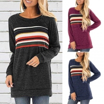 Fashion Contrast Color Long Sleeve Round Neck T-shirt