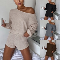 Fashion Solid Color Long Sleeve Knit Top + Shorts two-piece Set