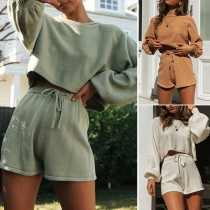 Fashion Solid Color Lantern Sleeve Knit Top+ Shorts Two-piece Set