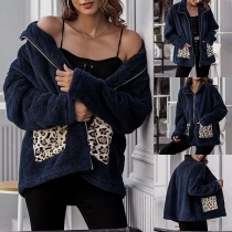 Fashion Leopard Spliced Long Sleeve Stand Collar Plush Coat