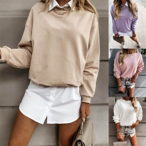 Fashion Solid Color Long Sleeve Round Neck Sweatshirt