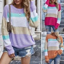 Fashion Long Sleeve Round Neck Rainbow Sweater