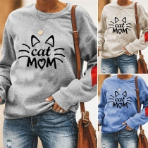 Cute Cat Printed Long Sleeve Round Neck Top