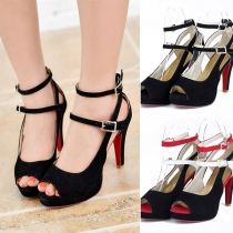 Sexy Contrast Color High-heeled Peep Toe Shoes