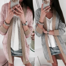 Fashion V-Neck Contrast Color Long Sleeve Knit Cardigan