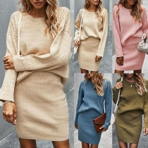 Fashion Solid Color Long Sleeve Round Neck Knit Top + Skirt Two-piece Set