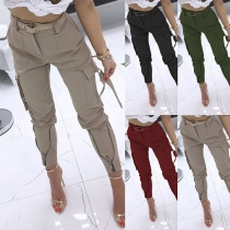 Pantalon à Poches Latérales de Couleur Unie à la Mode(Sans ceinture)