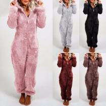 Combinaison Pyjama en Peluche à Capuche à Manches Longues