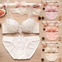 Sexy Printed Low-waist Underwear Bra Set