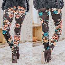 Legging Stretch Imprimé Taille Haute