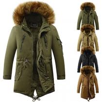 Manteau Rembourré à Capuchon en Fausse Fourrure Épissé à la Mode pour Hommes