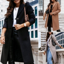 Fashion Solid Color Long Sleeve Notched Lapel Woolen Coat