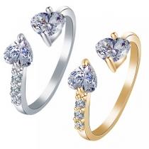 Fashion Heart Rhinestone Inlaid Open Ring