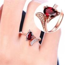 Fashion Red Rhinestone Inlaid Fox Shaped Alloy Ring