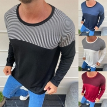 Fashion Striped Spliced Long Sleeve Round Neck Man's T-shirt