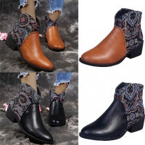 Retro Style Flat Heel Round Toe Printed Spliced Ankle Boots