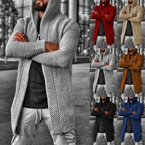 Simple Solid Color Hooded Cardigan For Men